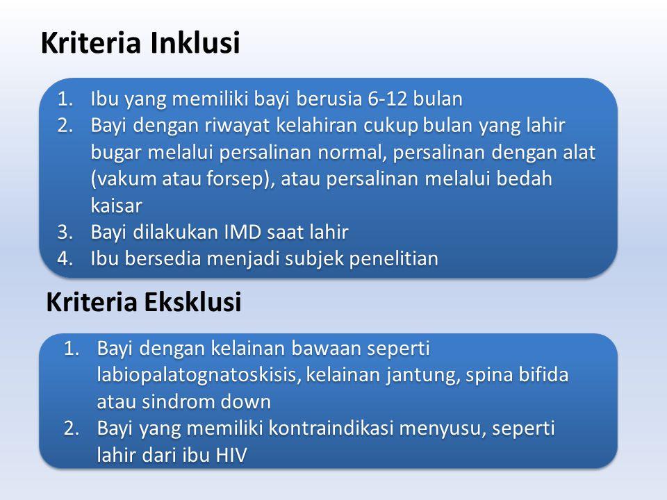 Kriteria Inklusi 1.Ibu yang memiliki bayi berusia 6-12 bulan 2.Bayi dengan riwayat kelahiran cukup bulan yang lahir bugar melalui persalinan normal, p