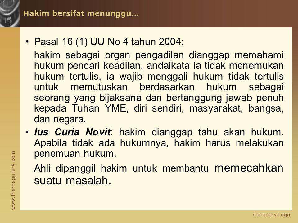 www.themegallery.com Hakim bersifat menunggu… Pasal 16 (1) UU No 4 tahun 2004: hakim sebagai organ pengadilan dianggap memahami hukum pencari keadilan