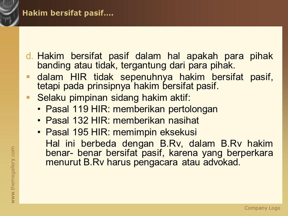 www.themegallery.com Hakim bersifat pasif….