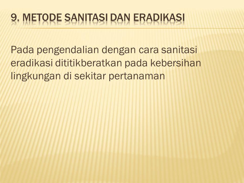 Pada pengendalian dengan cara sanitasi eradikasi dititikberatkan pada kebersihan lingkungan di sekitar pertanaman
