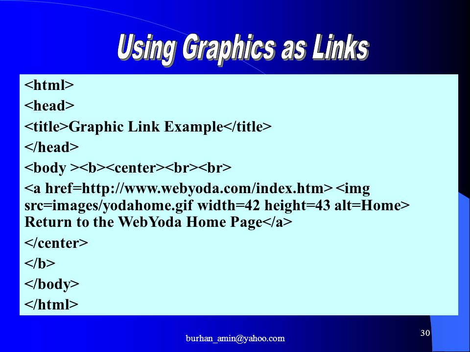 30 Graphic Link Example Return to the WebYoda Home Page burhan_amin@yahoo.com
