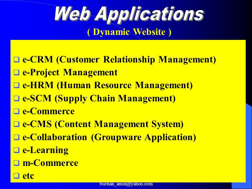 5  e-CRM (Customer Relationship Management)  e-Project Management  e-HRM (Human Resource Management)  e-SCM (Supply Chain Management)  e-Commerce  e-CMS (Content Management System)  e-Collaboration (Groupware Application)  e-Learning  m-Commerce  etc ( Dynamic Website ) burhan_amin@yahoo.com