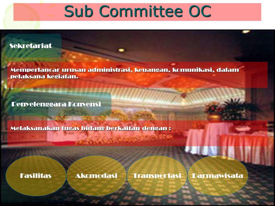 Sub Committee OC Sekretariat Memperlancar urusan administrasi, keuangan, komunikasi, dalam pelaksana kegiatan. Penyelenggara Konvensi Melaksanakan tug