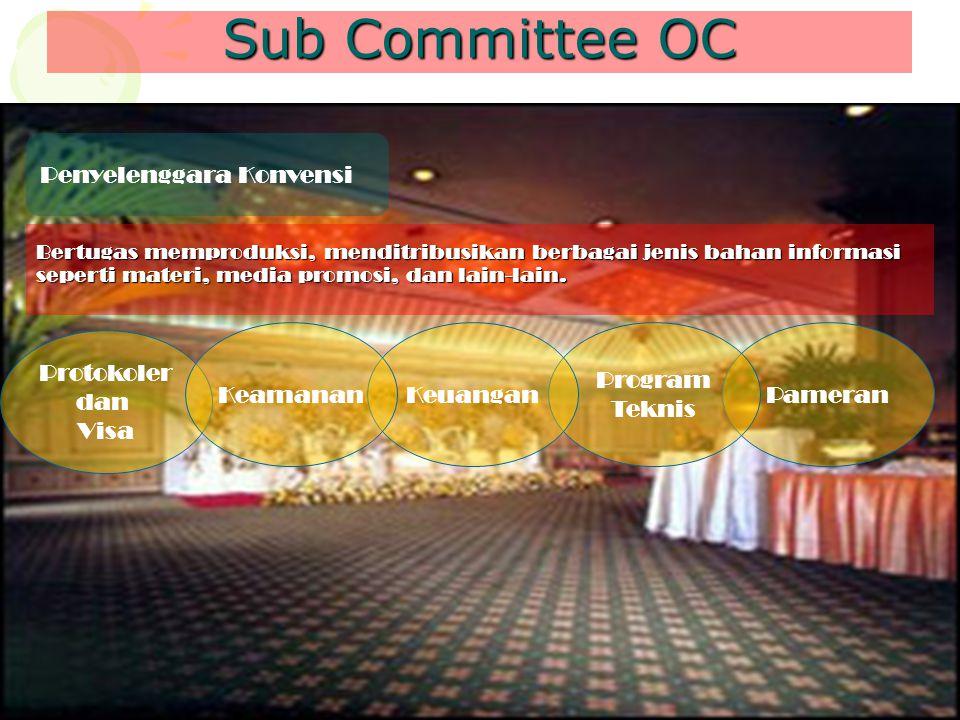 Sub Committee OC Penyelenggara Konvensi Bertugas memproduksi, menditribusikan berbagai jenis bahan informasi seperti materi, media promosi, dan lain-l