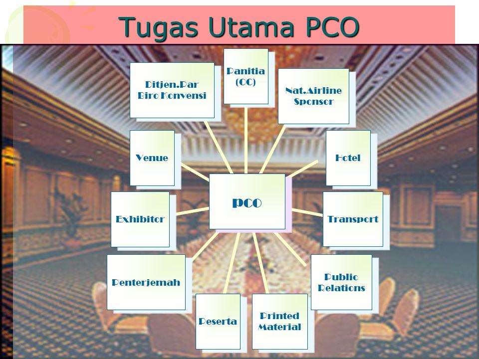 Tugas Utama PCO pco Panitia (OC) Nat.Airline Sponsor HotelTransport Public Relations Printed Material PesertaPenterjemahExhibitorVenue Ditjen.Par Biro