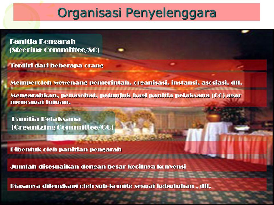 Organisasi Penyelenggara Panitia Pengarah (Steering Committee/SC) Terdiri dari beberapa orang Memperoleh wewenang pemerintah, organisasi, instansi, as