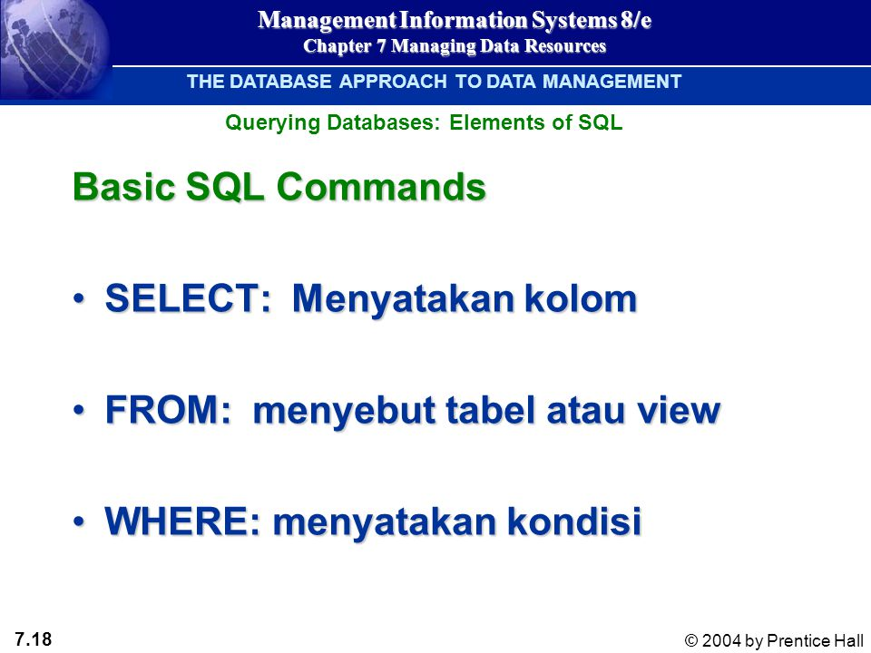 7.18 © 2004 by Prentice Hall Management Information Systems 8/e Chapter 7 Managing Data Resources Basic SQL Commands SELECT: Menyatakan kolomSELECT: Menyatakan kolom FROM: menyebut tabel atau viewFROM: menyebut tabel atau view WHERE: menyatakan kondisiWHERE: menyatakan kondisi Querying Databases: Elements of SQL THE DATABASE APPROACH TO DATA MANAGEMENT