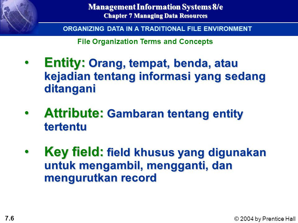 7.6 © 2004 by Prentice Hall Management Information Systems 8/e Chapter 7 Managing Data Resources Entity: Orang, tempat, benda, atau kejadian tentang i