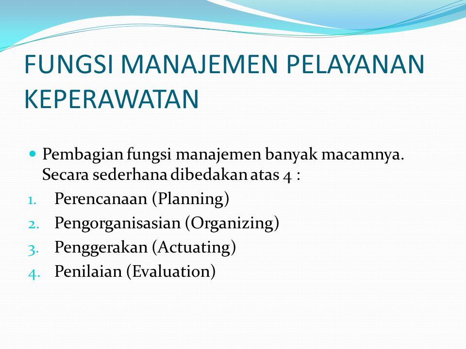 FUNGSI MANAJEMEN PELAYANAN KEPERAWATAN Pembagian fungsi manajemen banyak macamnya.