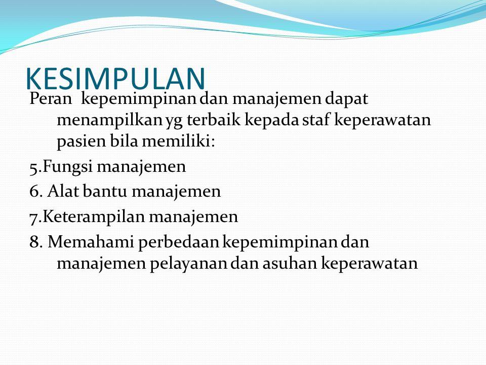 KESIMPULAN Peran kepemimpinan dan manajemen dapat menampilkan yg terbaik kepada staf keperawatan pasien bila memiliki: 5.Fungsi manajemen 6.