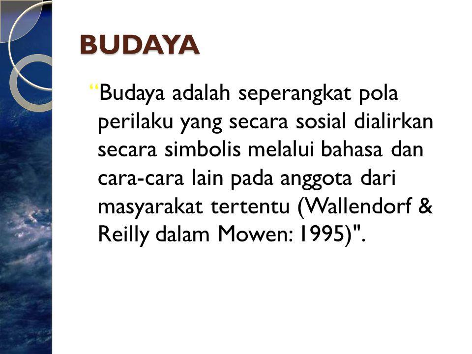 "BUDAYA ""Budaya adalah seperangkat pola perilaku yang secara sosial dialirkan secara simbolis melalui bahasa dan cara-cara lain pada anggota dari masya"