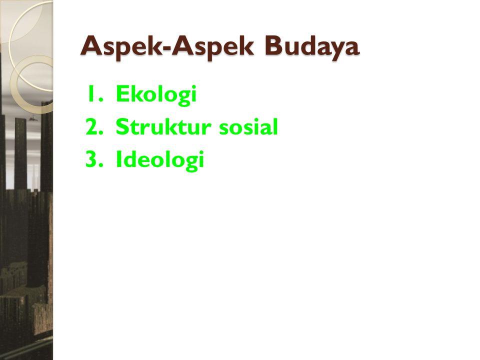 Aspek-Aspek Budaya 1. Ekologi 2. Struktur sosial 3. Ideologi