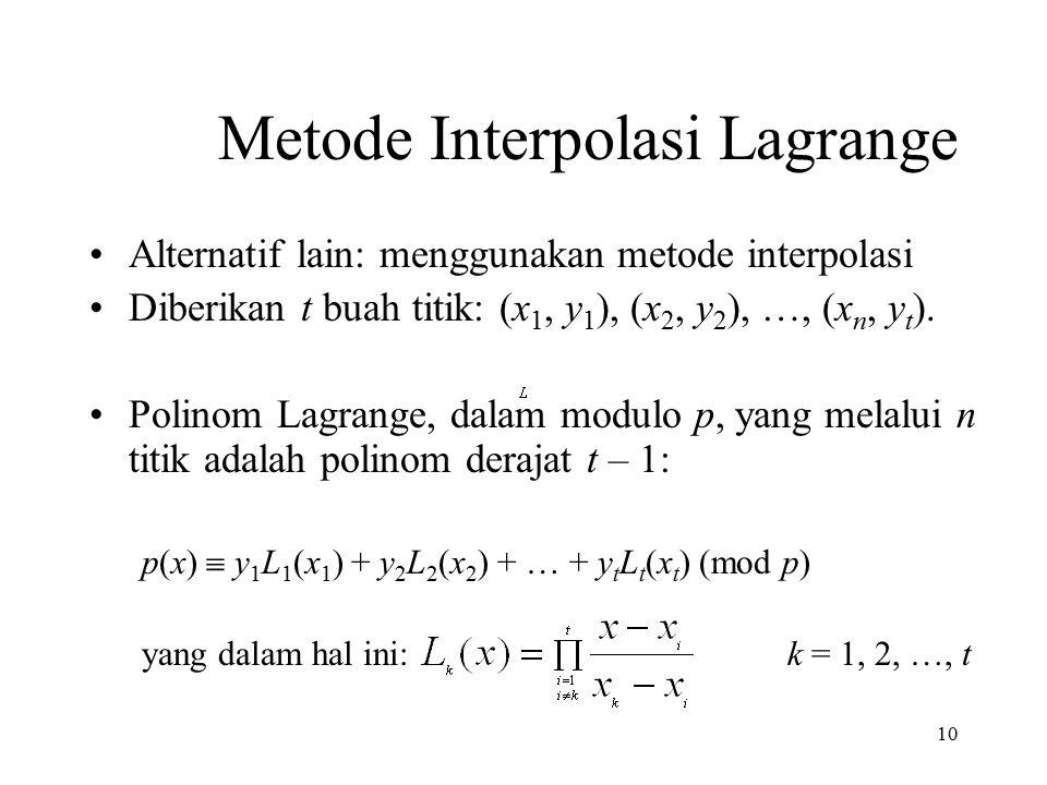 10 Metode Interpolasi Lagrange Alternatif lain: menggunakan metode interpolasi Diberikan t buah titik: (x 1, y 1 ), (x 2, y 2 ), …, (x n, y t ).