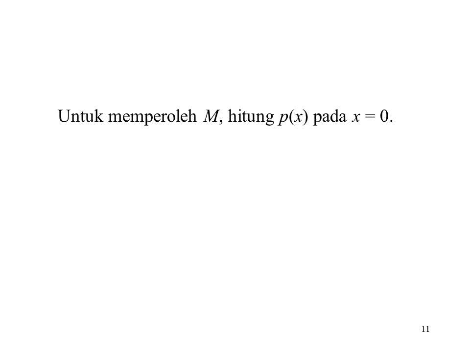 11 Untuk memperoleh M, hitung p(x) pada x = 0.