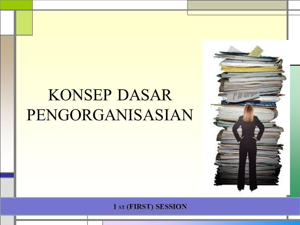 KONSEP DASAR PENGORGANISASIAN 1 ST (FIRST) SESSION Presented by Gartinia Nurcholis, M.Psi