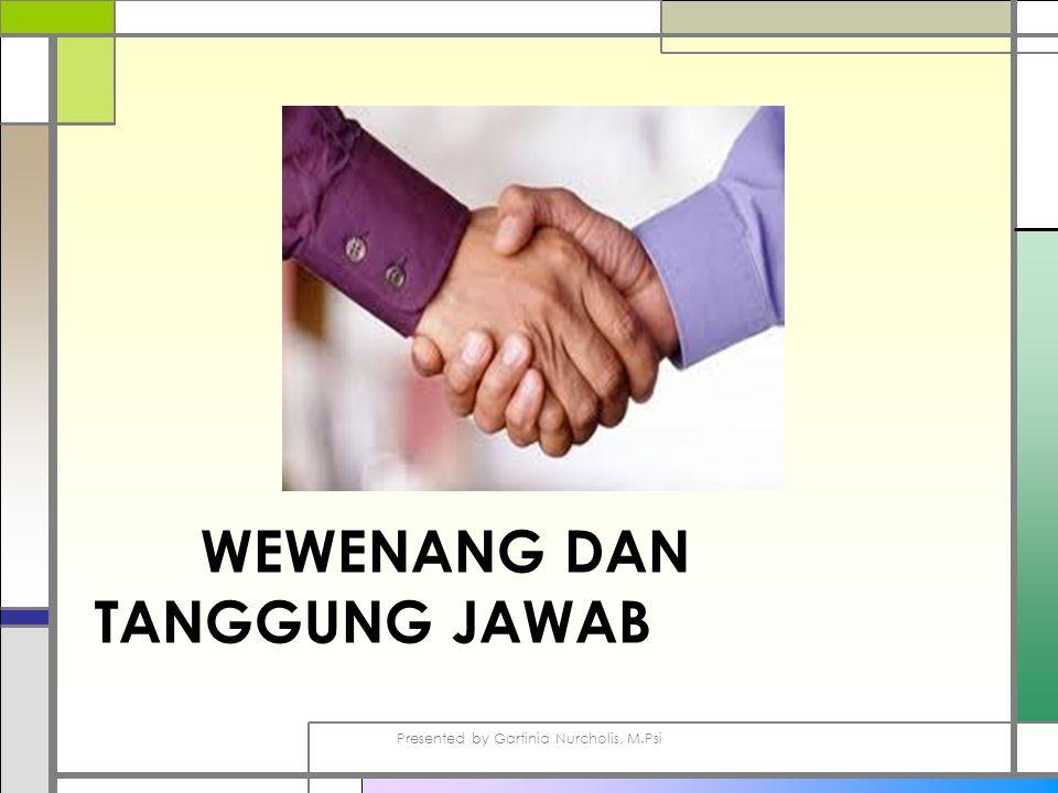 WEWENANG DAN TANGGUNG JAWAB Presented by Gartinia Nurcholis, M.Psi