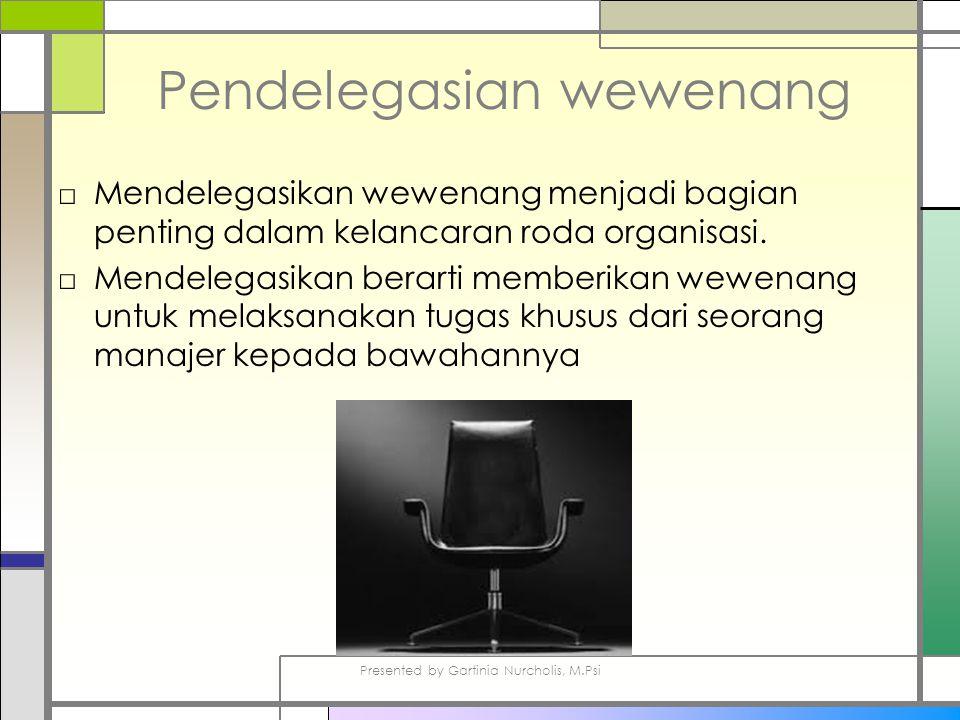 Pendelegasian wewenang □Mendelegasikan wewenang menjadi bagian penting dalam kelancaran roda organisasi.