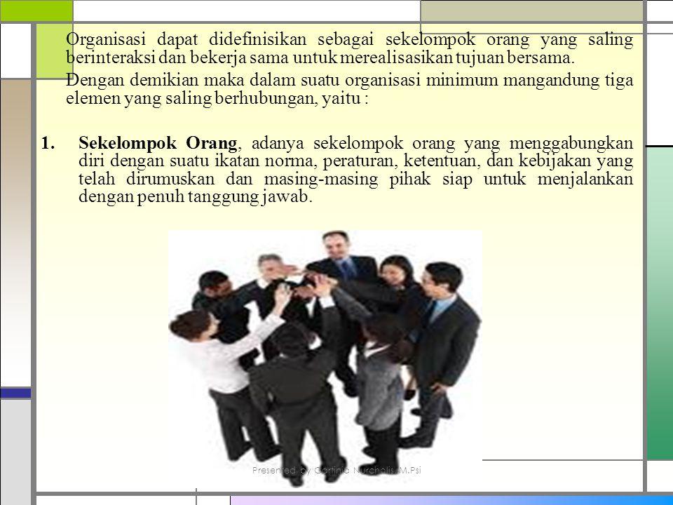 Organisasi dapat didefinisikan sebagai sekelompok orang yang saling berinteraksi dan bekerja sama untuk merealisasikan tujuan bersama.