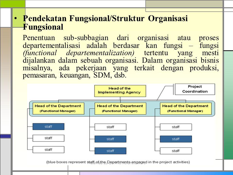 Pendekatan Fungsional/Struktur Organisasi Fungsional Penentuan sub-subbagian dari organisasi atau proses departementalisasi adalah berdasar kan fungsi – fungsi (functional departementalization) tertentu yang mesti dijalankan dalam sebuah organisasi.