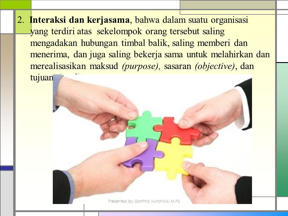 2. Interaksi dan kerjasama, bahwa dalam suatu organisasi yang terdiri atas sekelompok orang tersebut saling mengadakan hubungan timbal balik, saling m