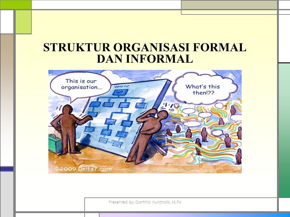 STRUKTUR ORGANISASI FORMAL DAN INFORMAL Presented by Gartinia Nurcholis, M.Psi