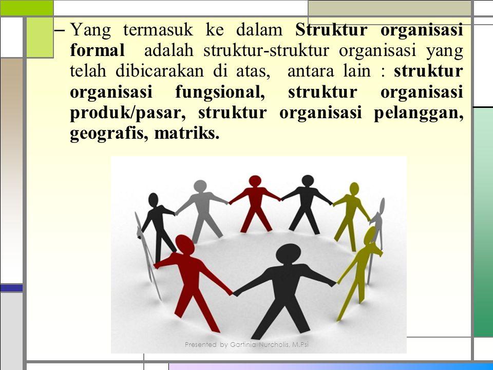 – Yang termasuk ke dalam Struktur organisasi formal adalah struktur-struktur organisasi yang telah dibicarakan di atas, antara lain : struktur organisasi fungsional, struktur organisasi produk/pasar, struktur organisasi pelanggan, geografis, matriks.
