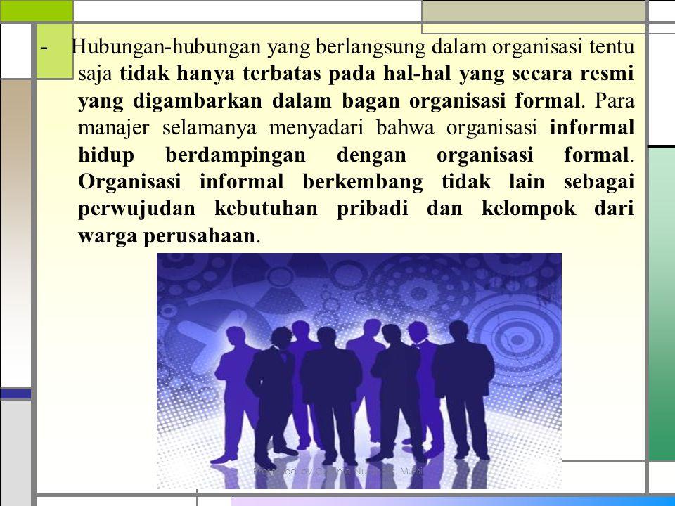 - Hubungan-hubungan yang berlangsung dalam organisasi tentu saja tidak hanya terbatas pada hal-hal yang secara resmi yang digambarkan dalam bagan organisasi formal.