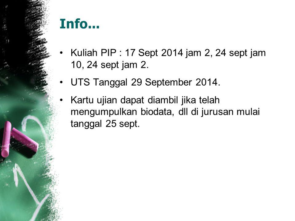 Info... Kuliah PIP : 17 Sept 2014 jam 2, 24 sept jam 10, 24 sept jam 2. UTS Tanggal 29 September 2014. Kartu ujian dapat diambil jika telah mengumpulk