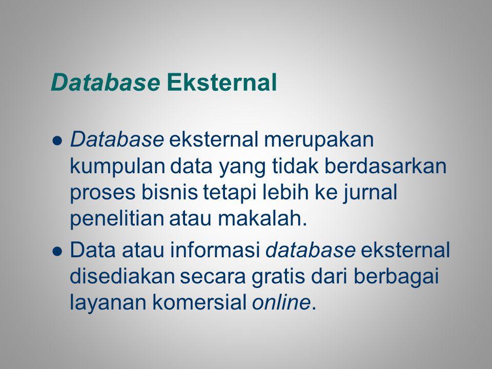 Database Eksternal Database eksternal merupakan kumpulan data yang tidak berdasarkan proses bisnis tetapi lebih ke jurnal penelitian atau makalah. Dat