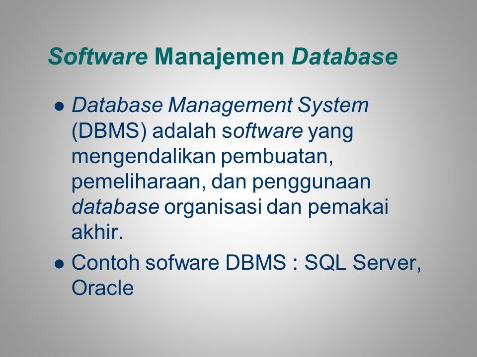 Software Manajemen Database Database Management System (DBMS) adalah software yang mengendalikan pembuatan, pemeliharaan, dan penggunaan database orga