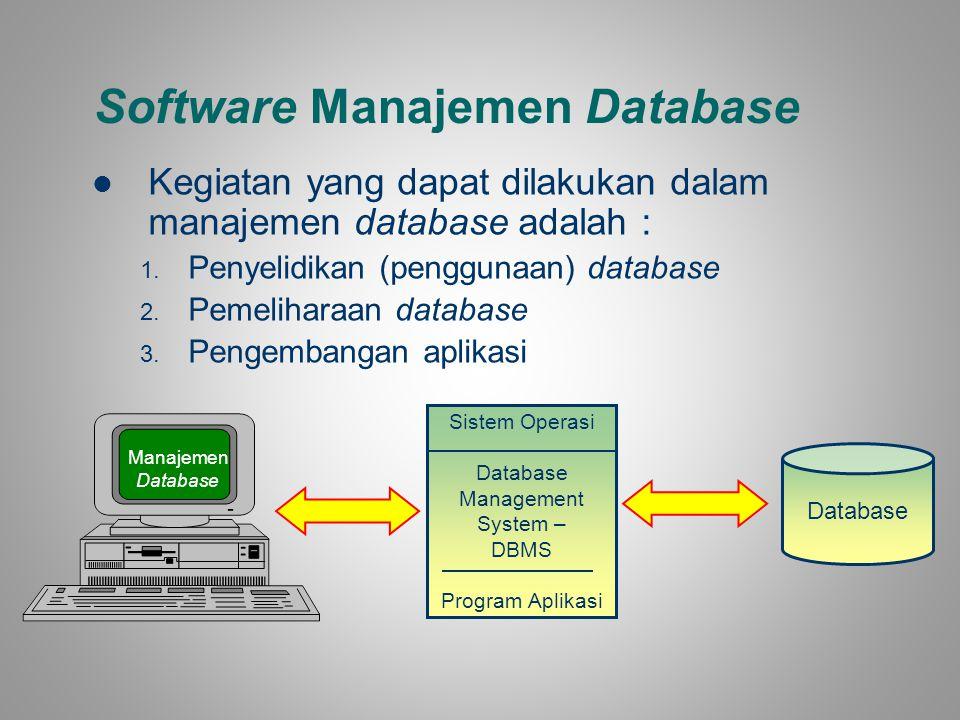 Software Manajemen Database Kegiatan yang dapat dilakukan dalam manajemen database adalah : 1. Penyelidikan (penggunaan) database 2. Pemeliharaan data