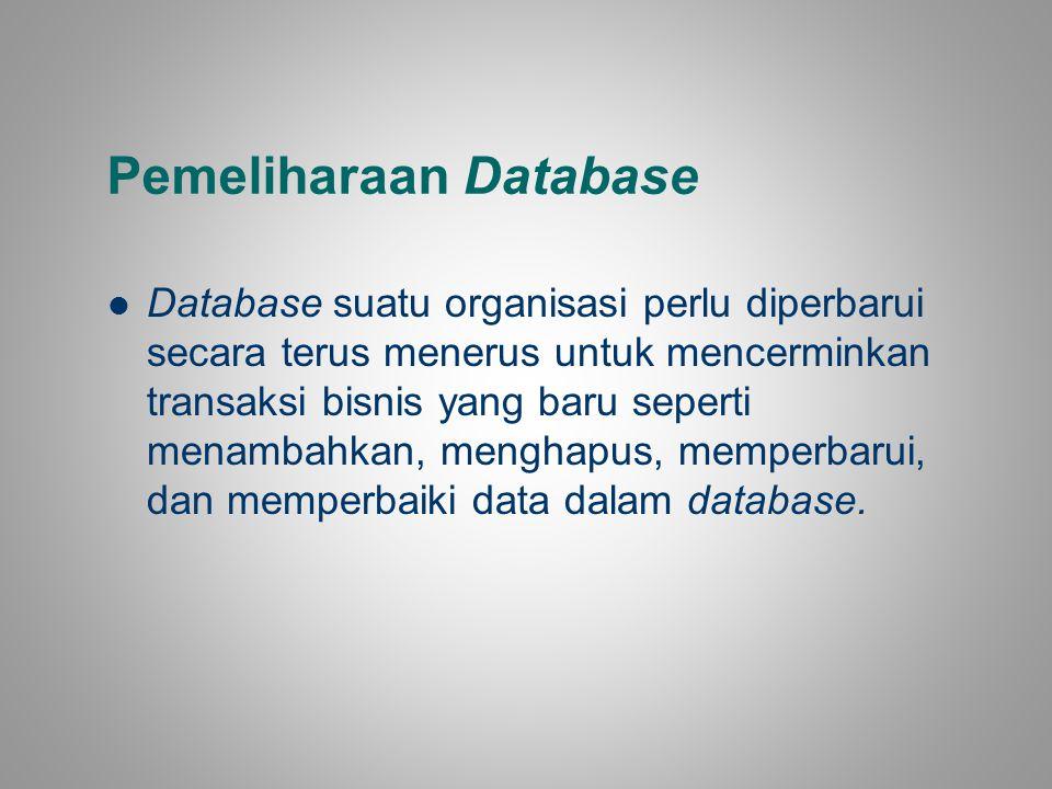 Pemeliharaan Database Database suatu organisasi perlu diperbarui secara terus menerus untuk mencerminkan transaksi bisnis yang baru seperti menambahka