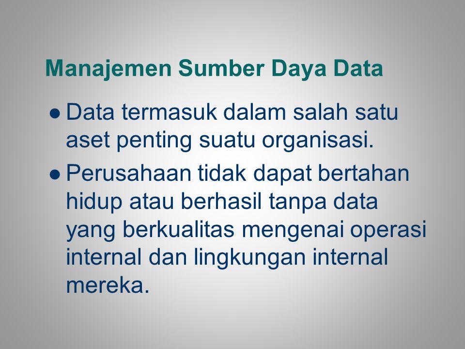 Data termasuk dalam salah satu aset penting suatu organisasi. Perusahaan tidak dapat bertahan hidup atau berhasil tanpa data yang berkualitas mengenai