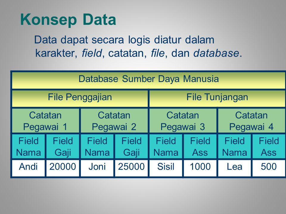 Konsep Data Data dapat secara logis diatur dalam karakter, field, catatan, file, dan database. Database Sumber Daya Manusia File PenggajianFile Tunjan