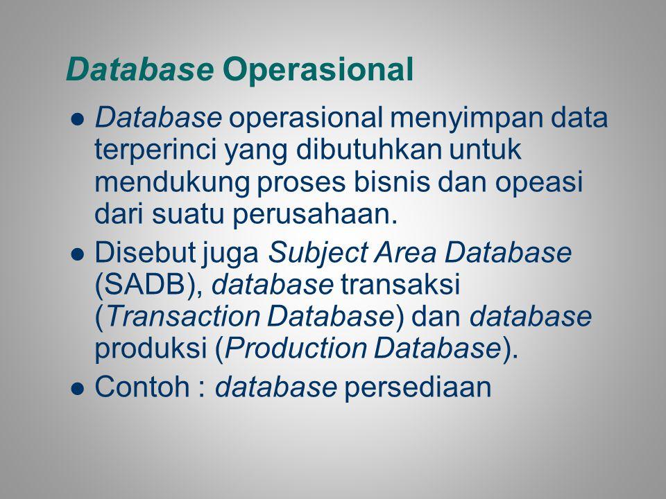 Database Operasional Database operasional menyimpan data terperinci yang dibutuhkan untuk mendukung proses bisnis dan opeasi dari suatu perusahaan. Di