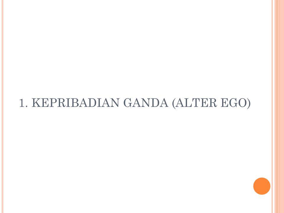 K EPRIBADIAN G ANDA Kepribadian ganda, atau juga sering dikenal dengan nama alter ego.