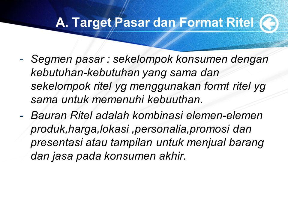 A. Target Pasar dan Format Ritel -Segmen pasar : sekelompok konsumen dengan kebutuhan-kebutuhan yang sama dan sekelompok ritel yg menggunakan formt ri