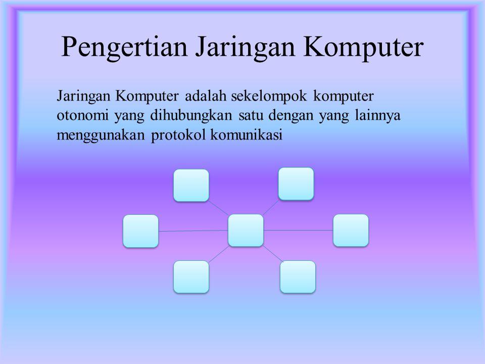 Pengertian Jaringan Komputer Jaringan Komputer adalah sekelompok komputer otonomi yang dihubungkan satu dengan yang lainnya menggunakan protokol komunikasi