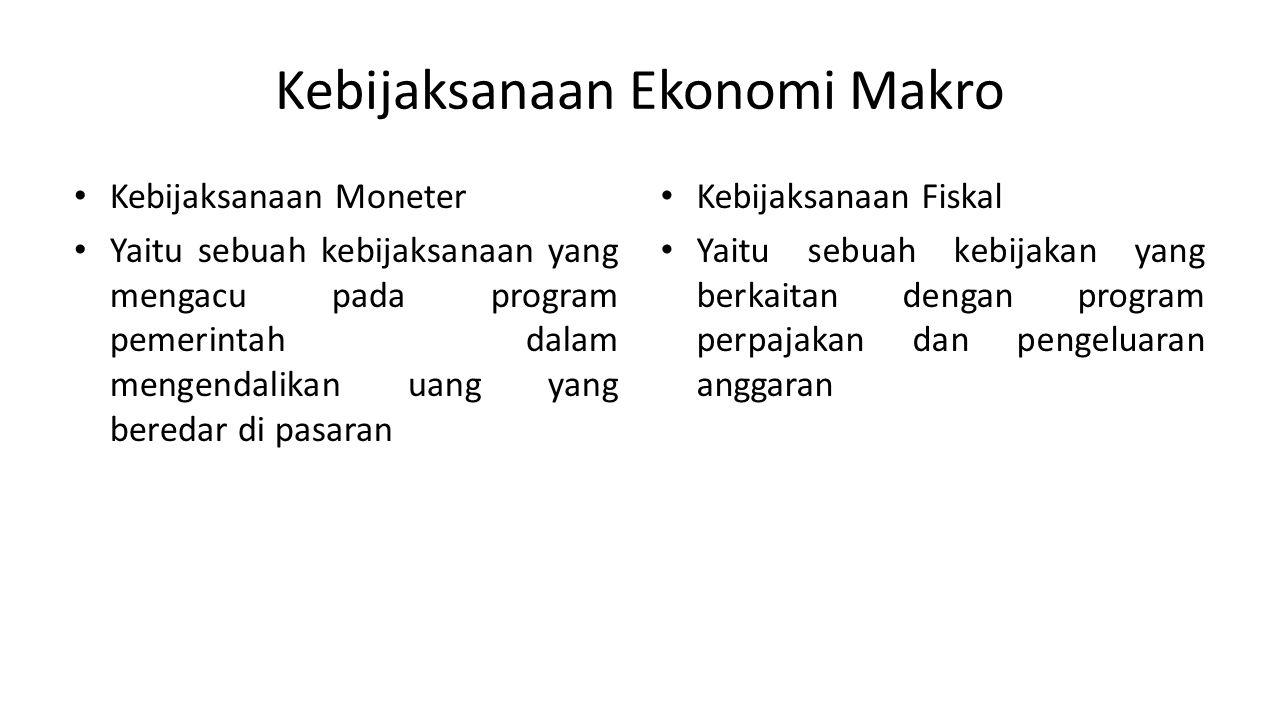 Kebijaksanaan Ekonomi Makro Kebijaksanaan Moneter Yaitu sebuah kebijaksanaan yang mengacu pada program pemerintah dalam mengendalikan uang yang bereda