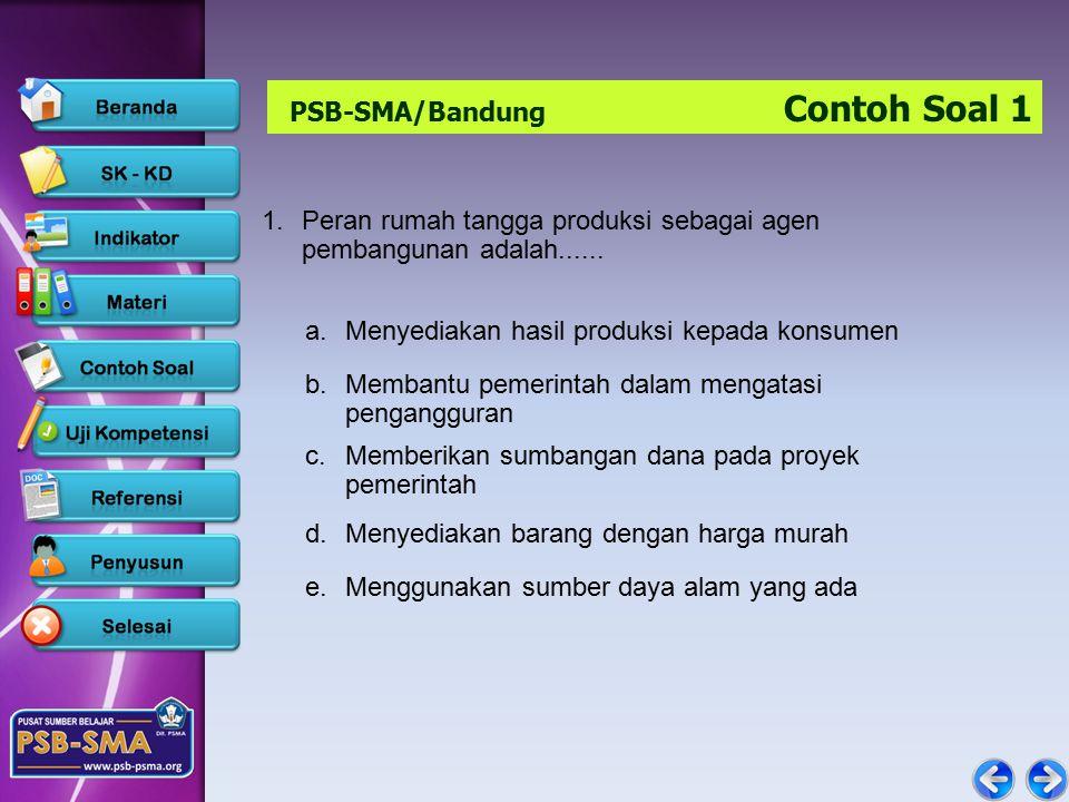 PSB-SMA/Bandung Contoh Soal 1 1.Peran rumah tangga produksi sebagai agen pembangunan adalah......
