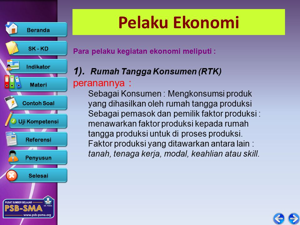 Pelaku Ekonomi Para pelaku kegiatan ekonomi meliputi : 1).