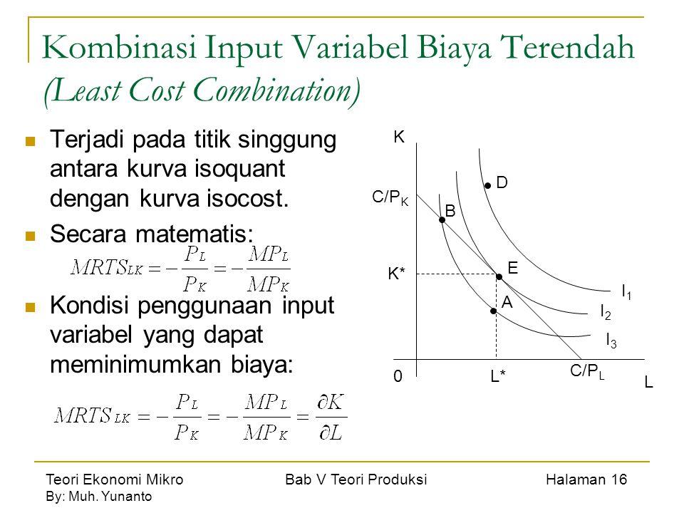 Teori Ekonomi Mikro Bab V Teori Produksi Halaman 16 By: Muh. Yunanto Kombinasi Input Variabel Biaya Terendah (Least Cost Combination) Terjadi pada tit