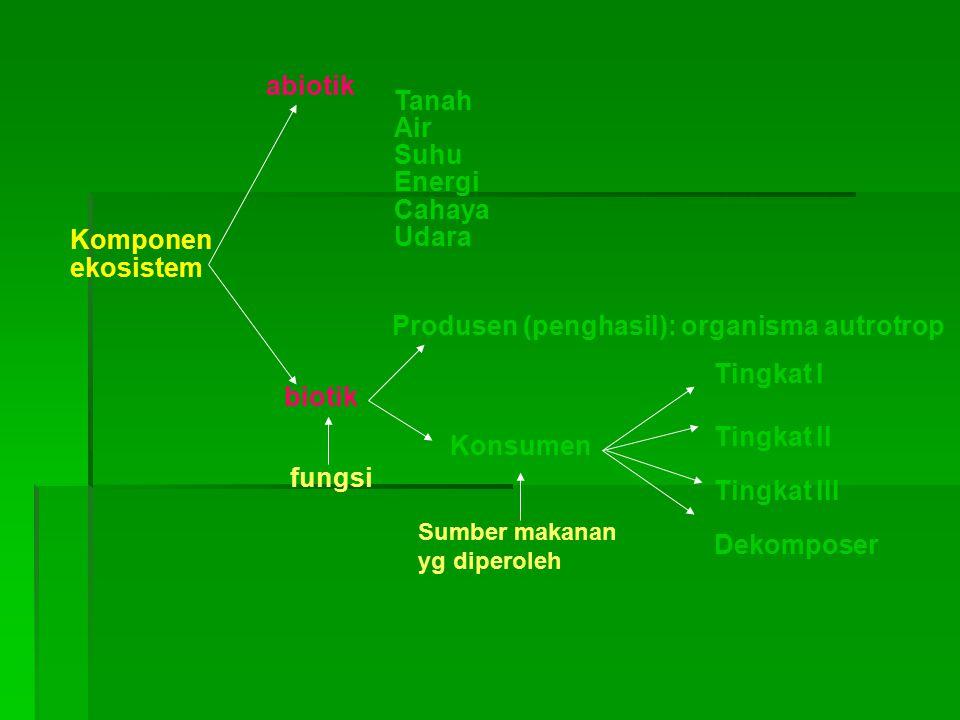 Tanah Air Suhu Energi Cahaya Udara Produsen (penghasil): organisma autrotrop Konsumen Tingkat III Tingkat II Tingkat I Dekomposer abiotik biotik Kompo