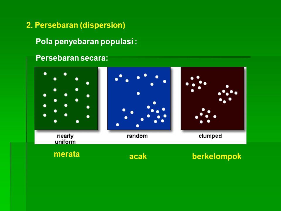 2. Persebaran (dispersion) Persebaran secara: Pola penyebaran populasi : merata acakberkelompok