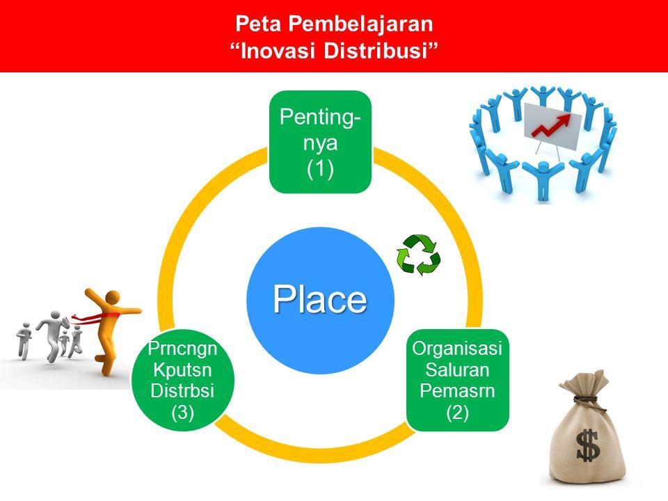 """Peta Pembelajaran """"Inovasi Distribusi"""" Place Penting- nya (1) Organisasi Saluran Pemasrn (2) Prncngn Kputsn Distrbsi (3)"""