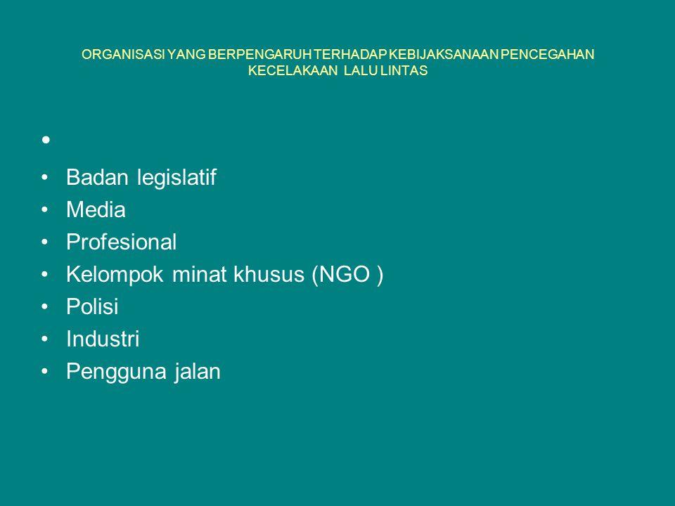 ORGANISASI YANG BERPENGARUH TERHADAP KEBIJAKSANAAN PENCEGAHAN KECELAKAAN LALU LINTAS Badan legislatif Media Profesional Kelompok minat khusus (NGO ) P