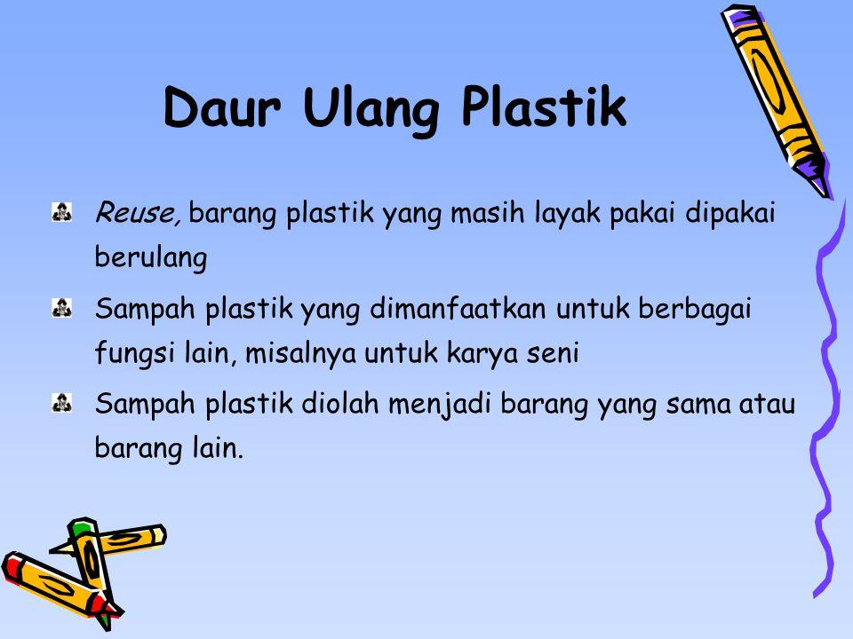 Daur Ulang Plastik Reuse, barang plastik yang masih layak pakai dipakai berulang Sampah plastik yang dimanfaatkan untuk berbagai fungsi lain, misalnya untuk karya seni Sampah plastik diolah menjadi barang yang sama atau barang lain.