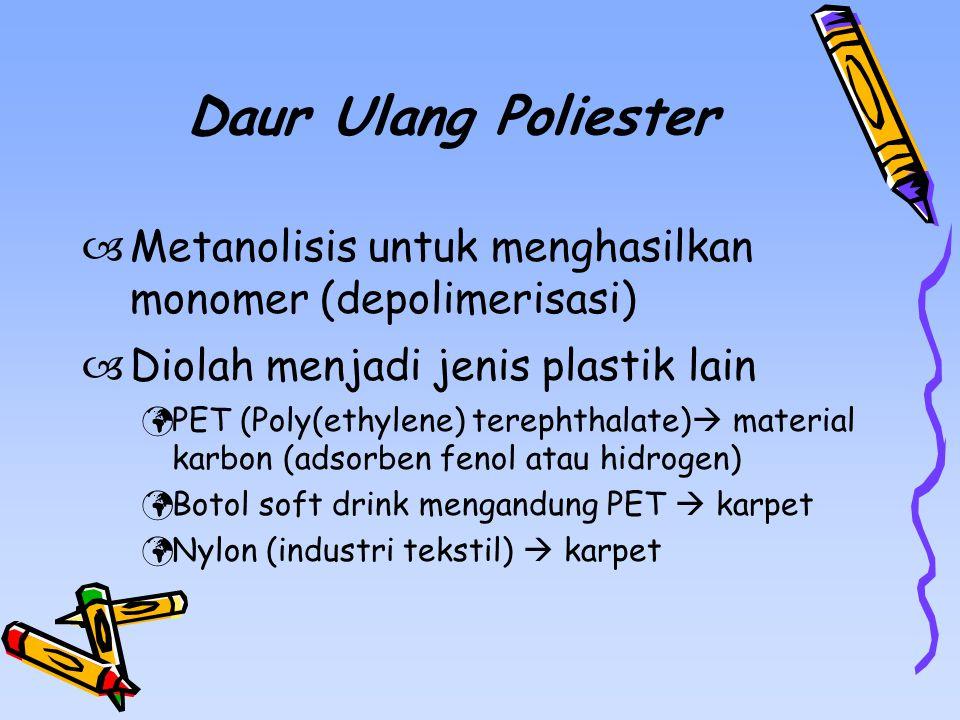 Daur Ulang Poliester  Metanolisis untuk menghasilkan monomer (depolimerisasi)  Diolah menjadi jenis plastik lain PET (Poly(ethylene) terephthalate)  material karbon (adsorben fenol atau hidrogen) Botol soft drink mengandung PET  karpet Nylon (industri tekstil)  karpet