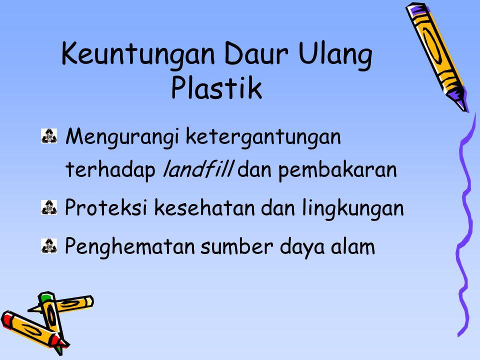 Keuntungan Daur Ulang Plastik Mengurangi ketergantungan terhadap landfill dan pembakaran Proteksi kesehatan dan lingkungan Penghematan sumber daya alam