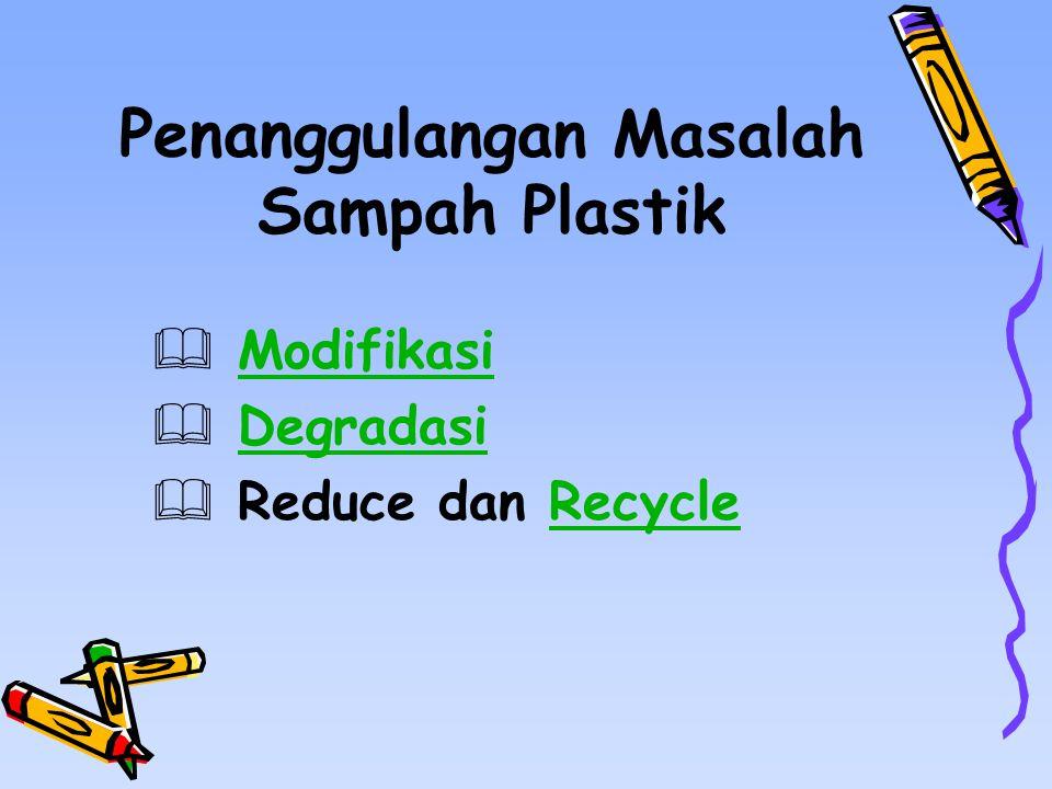 Penanggulangan Masalah Sampah Plastik  ModifikasiModifikasi  DegradasiDegradasi  Reduce dan RecycleRecycle